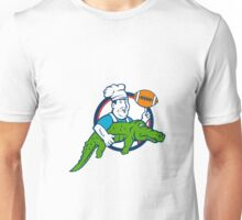 Chef Twirling Football Carry Alligator Circle Retro Unisex T-Shirt