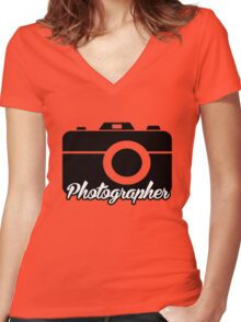 Photographer Women's Fitted V-Neck T-Shirt
