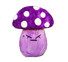 cute annoyed angry purple mushroom watercolor painting  Photographic Print