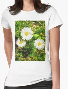 Three Daisies in the Sun Womens Fitted T-Shirt