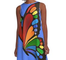 Colorful Rainbow Butterfly A-Line Dress