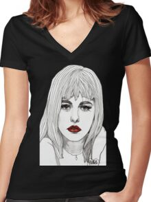 Patsy with Red Lips Women's Fitted V-Neck T-Shirt