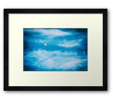 Moon Visible In Blue Sky With White Soft Clouds Framed Print