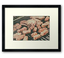 Traditional Romanian Barbecue With Pork Meat Rolls (Mici Or Mititei) Framed Print