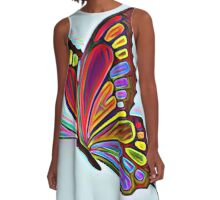 Colorful Abstract Butterfly Art A-Line Dress