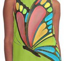 Pretty Rainbow Butterfly Art Contrast Tank