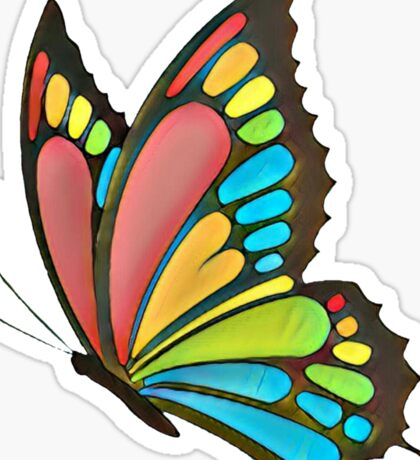 Pretty Rainbow Butterfly Art Sticker
