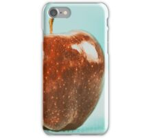 Fresh Red Delicious Apple On Turquoise Wood Table iPhone Case/Skin