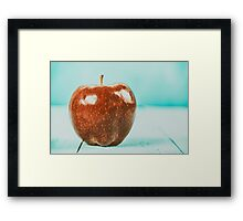 Fresh Red Delicious Apple On Turquoise Wood Table Framed Print