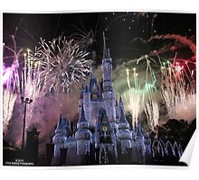 Cinderella's Castle Christmas Time durring Fireworks  Poster