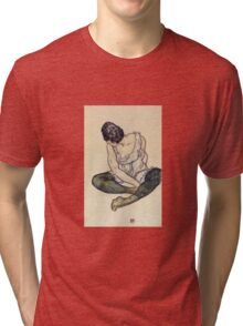 Egon Schiele - Seated Woman With Green Stockings 1918 Tri-blend T-Shirt