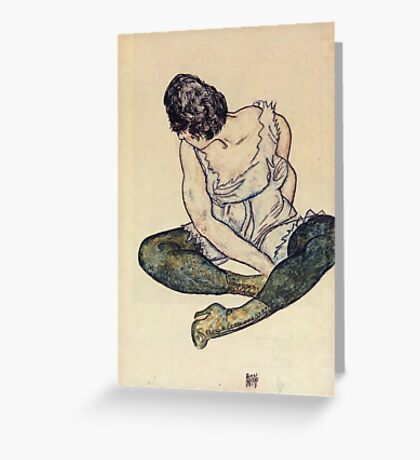 Egon Schiele - Seated Woman With Green Stockings 1918 Greeting Card