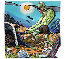 Ghoul raising Zombies in a graveyard Poster