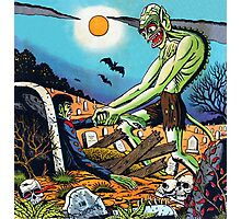 Ghoul raising Zombies in a graveyard Photographic Print