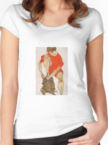 Egon Schiele - Female Model In Bright Red Jacket And Pants 1914 Women's Fitted Scoop T-Shirt
