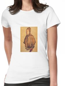 Egon Schiele - Girl With Hood 1910 Womens Fitted T-Shirt