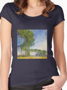 Claude Monet - Poplars View From The Marsh 1892 Women's Fitted Scoop T-Shirt