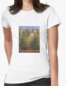 Claude Monet - The Steps At Vetheuil Womens Fitted T-Shirt