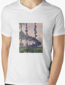 Claude Monet - Three Trees In Grey Weather Mens V-Neck T-Shirt