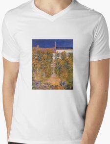 Claude Monet - The Artist S Garden At Vetheuil Mens V-Neck T-Shirt