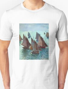 Claude Monet - Fishing Boats Calm Sea Unisex T-Shirt