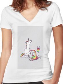 Rainbow Unicorn Women's Fitted V-Neck T-Shirt