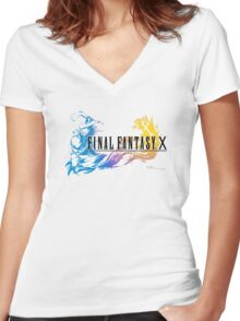 -FINAL FANTASY- Final Fantasy X Women's Fitted V-Neck T-Shirt