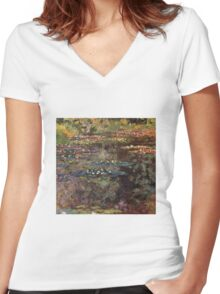 Claude Monet - Water Lilies 7 Women's Fitted V-Neck T-Shirt