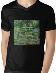 Claude Monet - The Japanese Bridge The Water Lily Pond Mens V-Neck T-Shirt