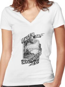 First Apple logo Women's Fitted V-Neck T-Shirt