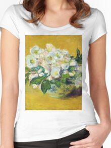 Claude Monet - Christmas Roses Women's Fitted Scoop T-Shirt