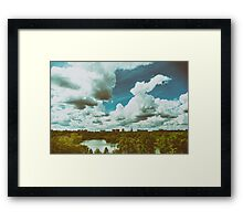 Bucharest City Skyline View From Youths Park (Parcul Tineretului) With Blue Sky And White Clouds Framed Print