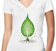 Green leaf shaped tree nature fractals concept art t-shirt design Women's Fitted V-Neck T-Shirt