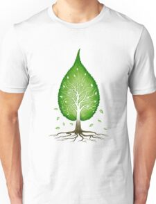 Green leaf shaped tree nature fractals concept art t-shirt design Unisex T-Shirt
