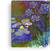Claude Monet - Water Lilies And Agapanthus 1917 Canvas Print