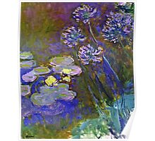 Claude Monet - Water Lilies And Agapanthus 1917 Poster