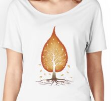 Red leaf shaped tree nature fractals concept art t-shirt design Women's Relaxed Fit T-Shirt