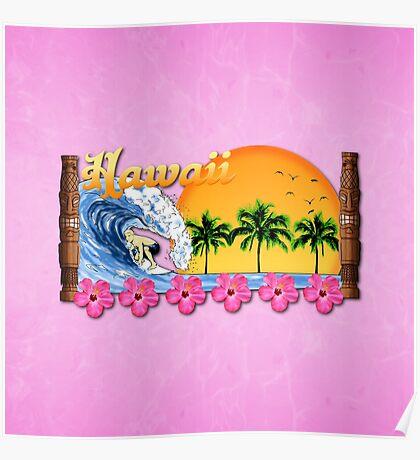 Pink Hawaiian Surfing Poster