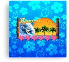 Hawaiian Surfing Blue Honu Canvas Print