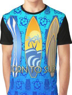 Born To Surf Tiki Graphic T-Shirt