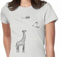 Flying Saucer, Secretary Bird and Giraffe Womens Fitted T-Shirt