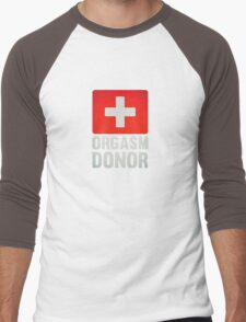 Orgasm Donor Cool Sexy Funny Vintage Icon Men's Baseball ¾ T-Shirt