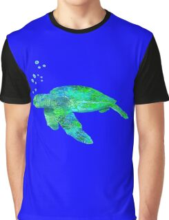 Sea Turtle And Bubbles Graphic T-Shirt