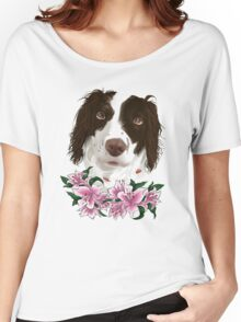 Spaniel with lily flowers Women's Relaxed Fit T-Shirt