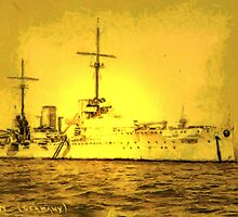 A digital painting of  Germany's First Battle Cruiser, the von der Tann WW1 by Dennis Melling