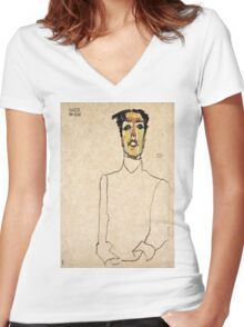 Egon Schiele - Singer Van Osen  Women's Fitted V-Neck T-Shirt