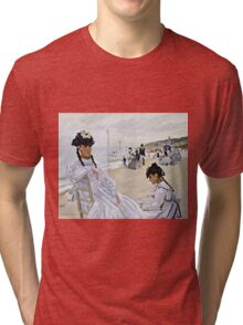 Claude Monet - On The Beach At Trouville  Tri-blend T-Shirt