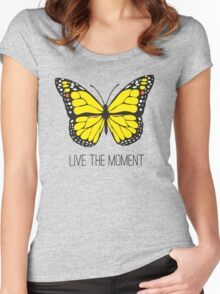Live The Moment Inspirational Girly Butterfly Design Women's Fitted Scoop T-Shirt