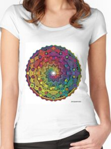 "Mandala 59 ""Time Dilation"" Rainbow Multicoloured Women's Fitted Scoop T-Shirt"