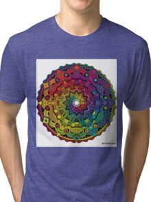 "Mandala 59 ""Time Dilation"" Rainbow Multicoloured Tri-blend T-Shirt"